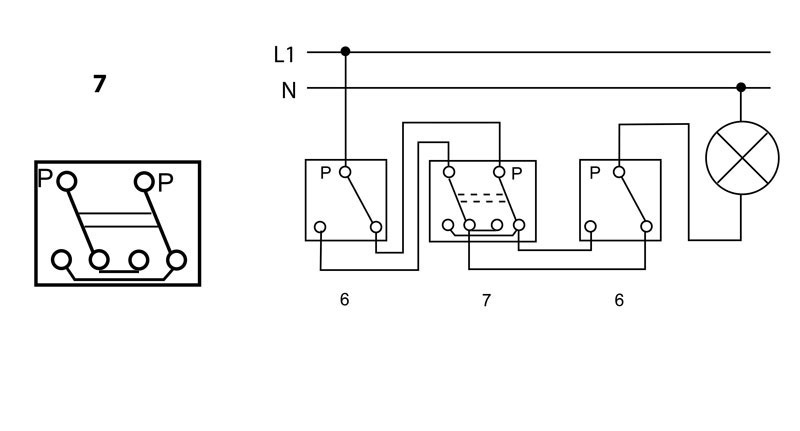 Arrangement 7 - Cross switch - 1 circuit switching from more than 2 places | Katy Paty