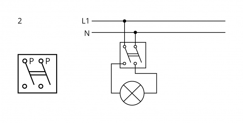 Arrangement 2 - Double-pole switch - 2 circuit switching from 1 place at the same time. | Katy Paty