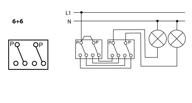 Arrangement 6+6 - Double alternate switch - 2 circuit switching from 2 places | Katy Paty