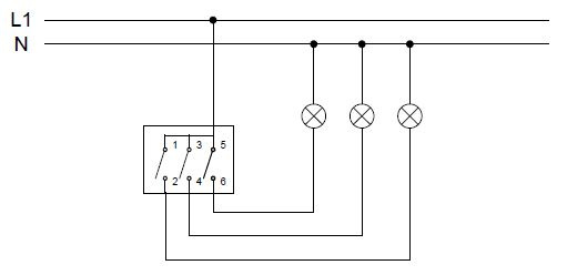 Arrangement 3 - three-pole switch - 3 circuits switching from 1 place | Katy Paty