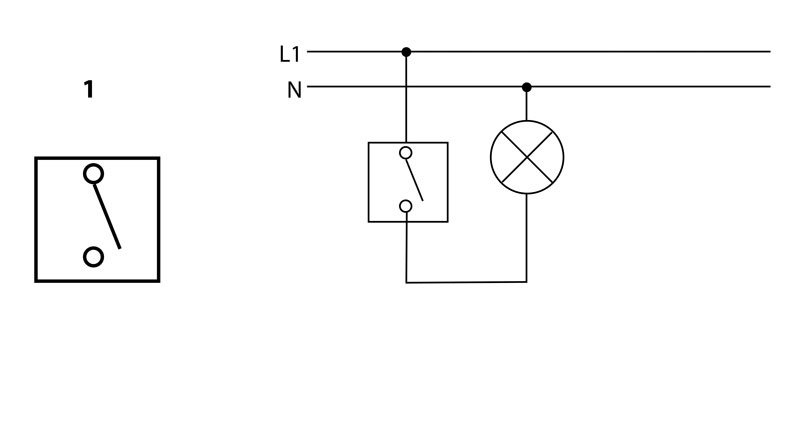 Arrangement 1 - Single-pole switch - 1 circuit switching from 1 place | Katy Paty