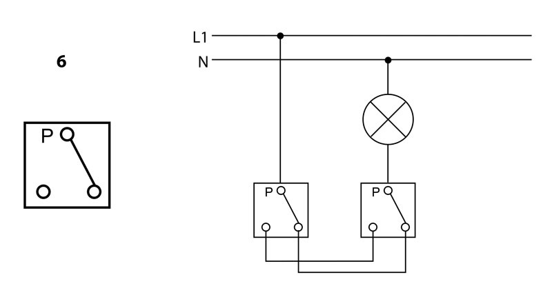 Arrangement 6 - Alternate switch - 1 circuit switching from 2 places | Katy Paty